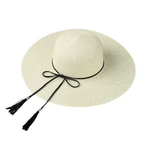 Summer Fashion Women Straw Hat Floppy Grande Brim Tassel dobrável Sun Beach Holiday Cap Casual