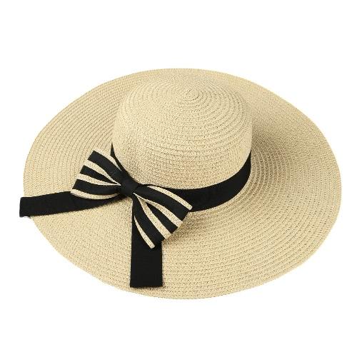 Summer Fashion Women Straw Hat Floppy szerokie rondo Składany Bow Sun Beach Holiday Casual Cap Beige / Khaki / kawy