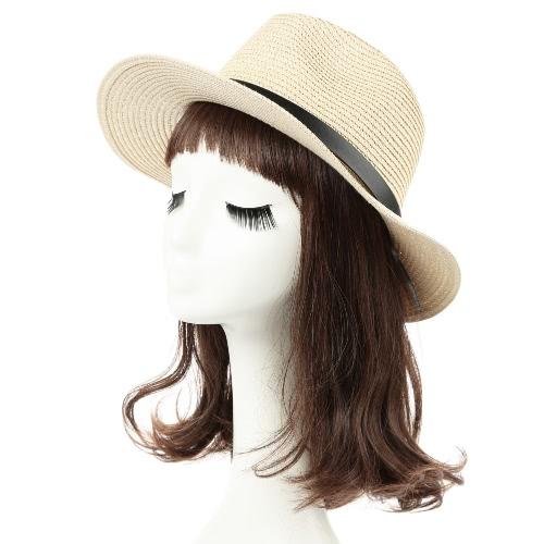 Moda Unisex Sun Hat Straw Hat stałe szerokie rondo Metal Belt Lato Sunbonnet Plaża Panama Hat Brown / Beige