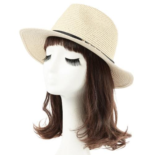 Fashion Unisex Sonnenhut Strohhut fester breiter Rand Rivet Gürtel Sommer Sunbonnet Strand Panama-Hut Braun / Beige