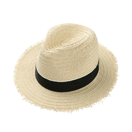 New Fashion Women Chapéu de palha Chapéu Trim Wide Brim Summer Sun Beach Cap Chapéu do Panamá Bege