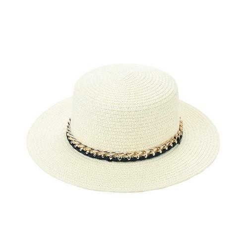 Cappello per il sole nuove donne di modo cappello di paglia largo solido estate del bordo Sunbonnet Beach Panama