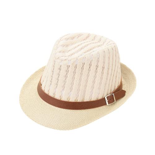 Moda Niño Niña sombrero de paja hueco de malla transparente contraste de la correa del sombrero del casquillo del sombrero flexible Fedora rizado del borde de Bebés y Niños Unise Panamá Jazz