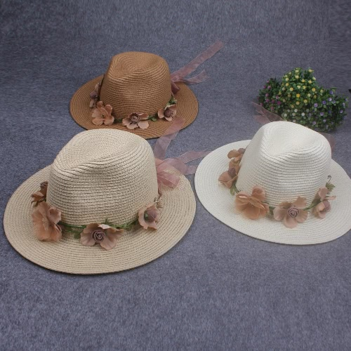 Summer Women Flower Straw Hat Garland Ribbon Floral Wide Brim Sun Beach Cap Fedora Trilby Hat White/Beige/Khaki