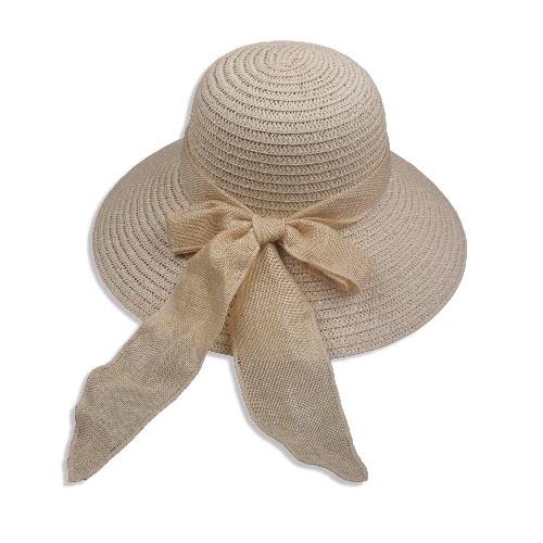 New Sweet Women Chapéu de palha Bowknot Dobrável casual Verão Sun Beach Cap Bege / Light Coffee