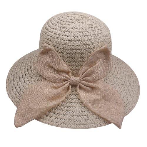 Summer Women Chapéu de palha Wide Brim Bow Decoração Sun Beach Cap Foldable Floppy Hat Bege / Brown