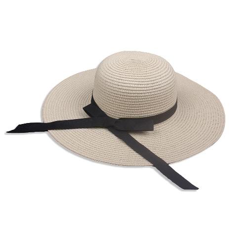 Cappello elegante di estate della paglia delle nuove donne eleganti Bowknot largo grande copricapo pieghevole di vacanza estivo di estate