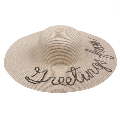 Verano Mujer Straw Floppy Hat Wide Brim Letter Sequins Plegable Sun Beach Holiday Casual Cap Blanco / Beige / Khaki