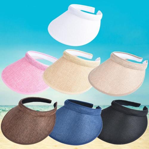 Купить Unisex-Frauen-Männer-Sommer-Sonne-Visier-Kappe Breiter Breiter Rand-Oberseiten-Tennis-Golf-Stirnband-Hut Headwear