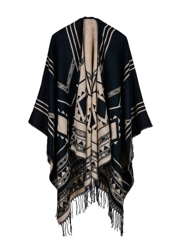 Moda Mulheres Poncho Cardigan Sweater Geométrica Tassels Fringed Faux Cashmere