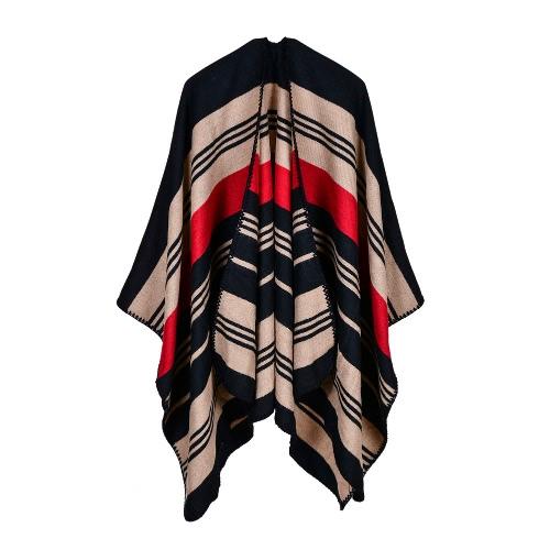 Nowe kobiety dzianiny Poncho Cape Stripe Gradient Oversized Sweter Sweter Szalik Szalik Cashmere Pashmina