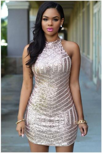 Mulheres sexy vestem cintilante Sequin listra zíper sem mangas costas Bodycon festa Mini vestido dourado