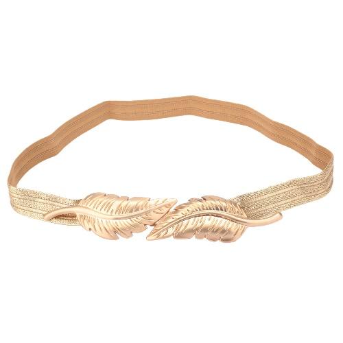 Mujeres Vintage cinturón hojas cierre cinturón elástico delgado estiramiento frontal cintura correa oro
