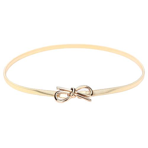 Nouveau mode femmes ceinture Bow fermoir ceinture élastique Skinny Stretch avant Bowknot taille Bracelet or/argent