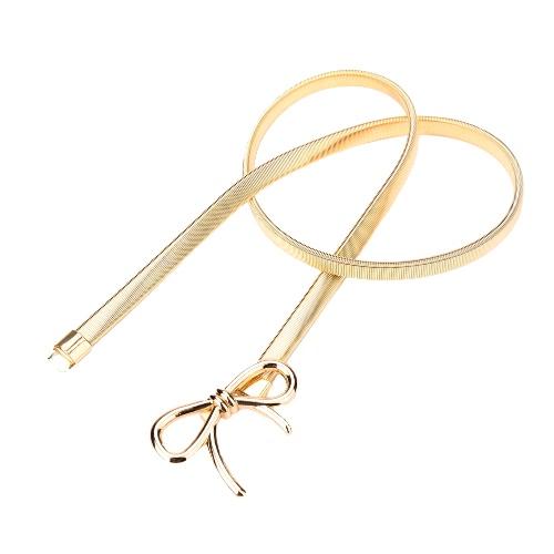 Nuova moda donna cintura fiocco Chiusura anteriore tratto primavera Waist Strap magro cintura elasticizzata oro/argento