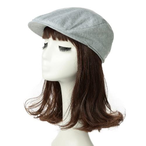 Neue Art und Weise flache Kappe Unisex Solid Color elastische Rücken Einfach Lässig Cabbie Hut Schwarz / Grau / Hellgrau