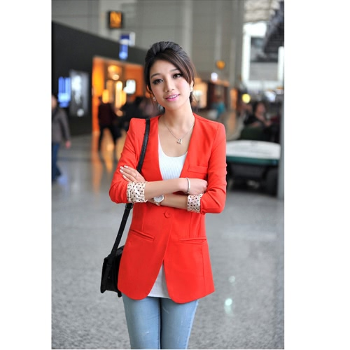Women's Casual Boyfriend Blazer One Button Suit Jackets Coat Collarless Dot Lining Orange