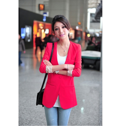 Women's Casual Boyfriend Blazer One Button Suit Jackets Coat Collarless Dot Lining Rose