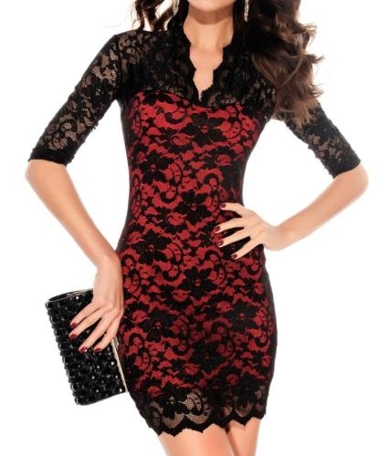 Damen Lace Kleid überbackene Hals Sexy schlanke 3/4 Sleeve-Cocktail-Kleid