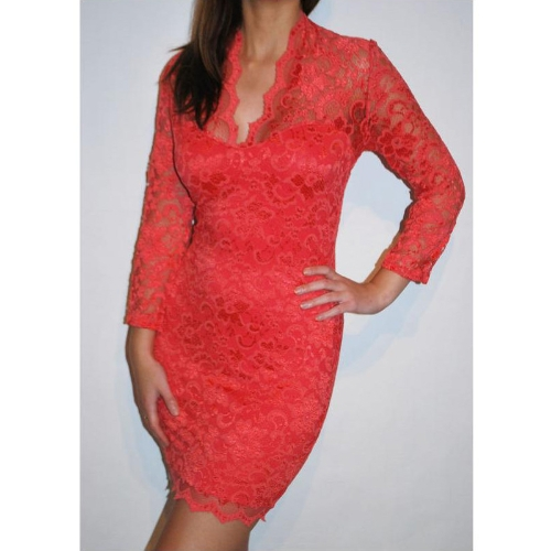 Women's Lace Dress Scalloped Neck Sexy Slim 3/4 Sleeve Cocktail Dress