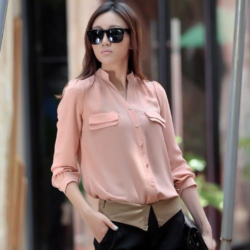 Camicia in Chiffon camicetta donna Top Lady OL Long Sleeve Slim