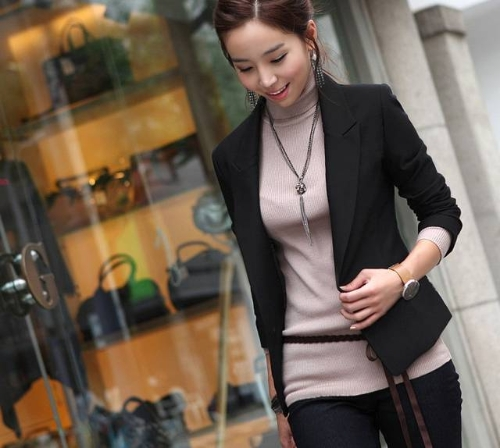 As mulheres um botão terno casaco preto