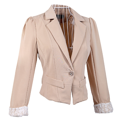 Women Lace Cuffs Suit Coat