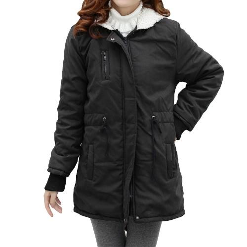 Las mujeres invierno polar Parka abrigo abrigo con capucha chaqueta larga negro (tipo 2)