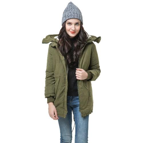 Las mujeres invierno polar Parka abrigo con capucha abrigo chaqueta larga verde militar (tipo 1)