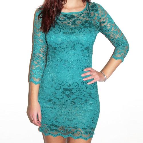 Frauen Lace Dress Slash Neck Cocktail Abendkleid