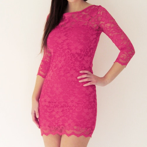 Stylish Bodycon Lady Women Lace Dress Slash Neck Cocktail Evening Dress Rose