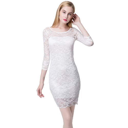 Women Lace Dress Slash Neck Cocktail Evening Dress White/Black