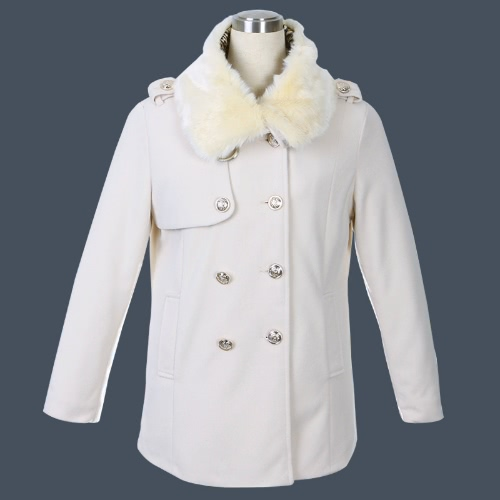 Women's Double Breasted Trench Coat Quilted Fur Collar Jacket Outerwear