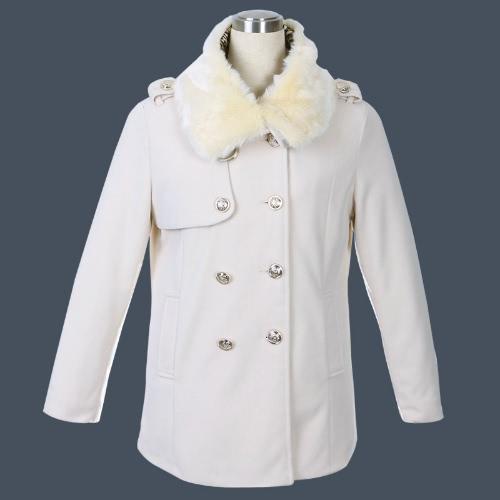 Стеганые женские двубортные пальто меховой воротник куртки пуховики