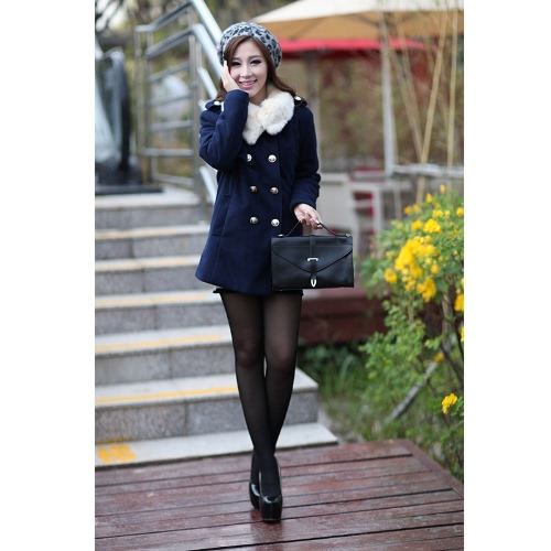 Doble Breasted trinchera abrigo mujer acolchado piel chaquetas de cuello