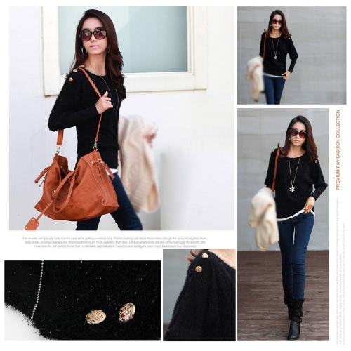 Women's Lady Batwing Coat Round Neck Loose Pullover