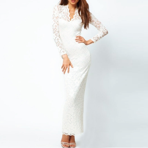 Manga larga de encaje mujer Maxi vestido