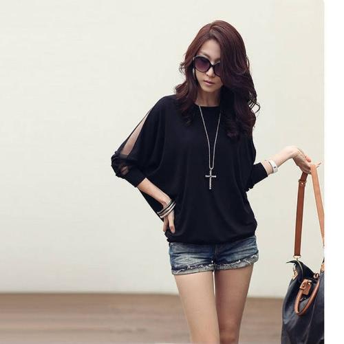 Blusa t-shirt manga Batwing laço de algodão feminino