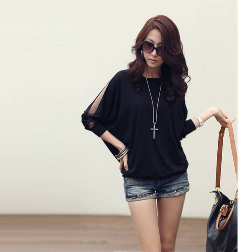 Blusa Camiseta algodón encaje Batwing manga de las mujeres