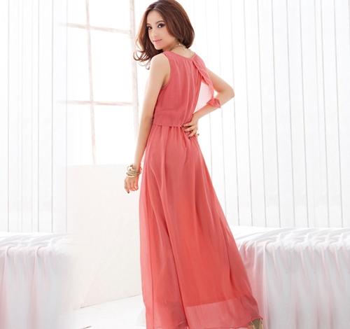 TOMTOP / As mulheres dama Boêmia Boho Maxi vestido do Chiffon Long Beach plissadas Sundress