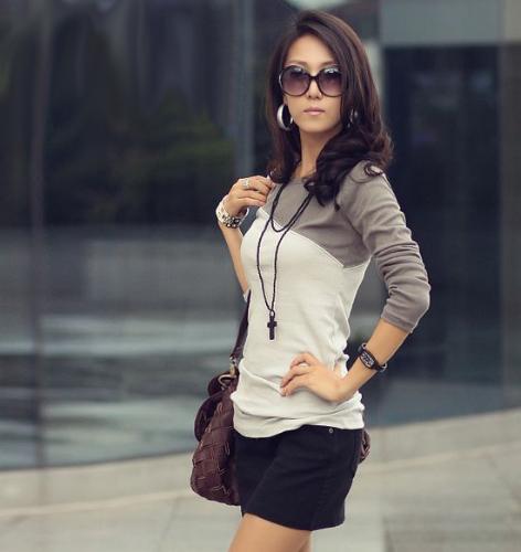 Camiseta manga larga mujer mujeres mezclan colores empalme redondo cuello Tees