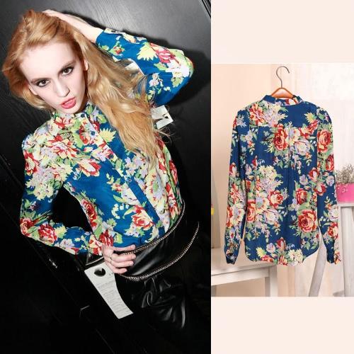 Mulheres do Chiffon camisa blusa impressa flor Stand gola botão camisa azul