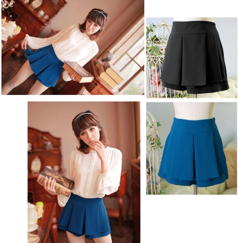 Mode Frauen Lady geteilten Faltenrock Mini OL Tier Sommer Shorts Culottes Pantskirt schwarz