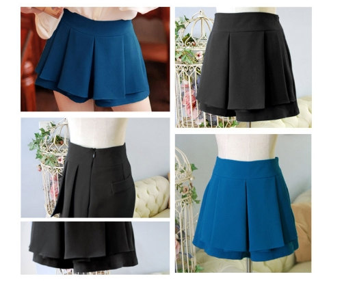 Fashion Women Lady Pleated Divided Skirt Mini OL Tiered Summer Shorts Culottes Pantskirt Blue