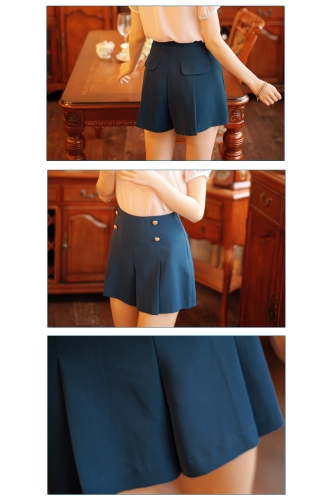 Fashion Women Lady Pleated Divided Skirt Mini OL Buttons Summer Shorts Culottes Pantskirt Blue