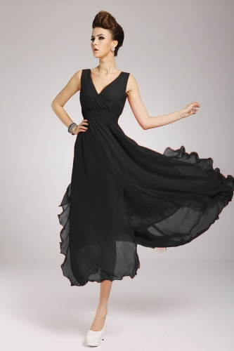 2013 uus rand Böömi naiste kleit Sifonki V kaela kaua Maxi kleit Ball õhtu pool must