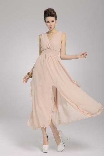 2013 uus rand Böömi naiste kleit Sifonki V kaela kaua Maxi kleit Ball õhtu poole naha