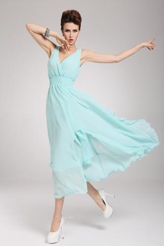 2013 uus rand Böömi naiste kleit Sifonki V kaela kaua Maxi kleit Ball õhtu pool taeva sinine