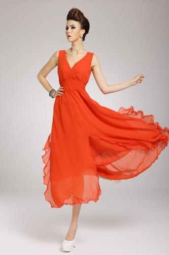 2013 uus rand Böömi naiste kleit Sifonki V kaela kaua Maxi kleit Ball õhtu pool apelsini