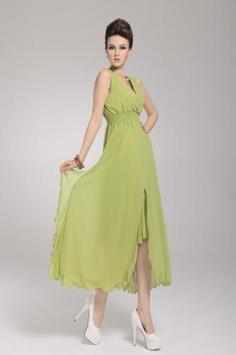 2013 uus rand Böömi naiste kleit Sifonki V kaela kaua Maxi kleit Ball õhtul Party Green